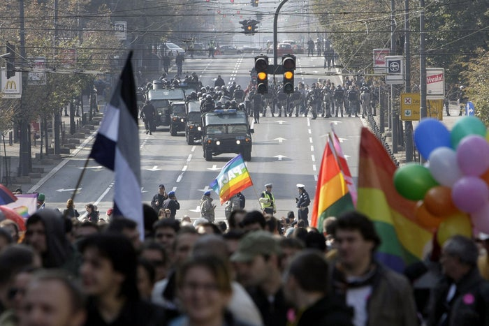 Serbia's last gay pride rally, on Oct. 10, 2010, ended in violence when far-right protesters clashed with riot police.