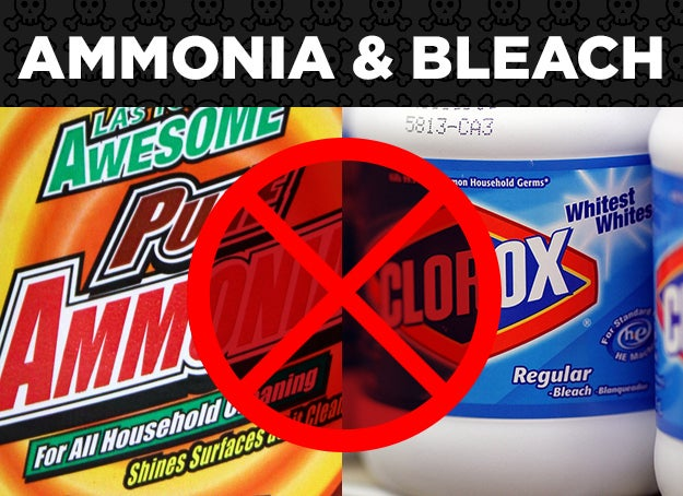 Be sure to check the ingredients lists of your cleaning products to ensure you're not unknowingly using these products together. For instance, Windex comes in both ammonia and ammonia-free formulas. Certain formulations of Drano contain bleach.Why: Inhaling the vapors could cause respiratory damage and throat burns.The worst that could happen: If ammonia is present in excess, toxic and potentially explosive liquid hydrazine may be formed. Check out this story about a man who died mixing ammonia, bleach, and Drano to clean his toilet.