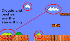 The bushes and clouds in Super Mario Bros are the same, just colored differently.