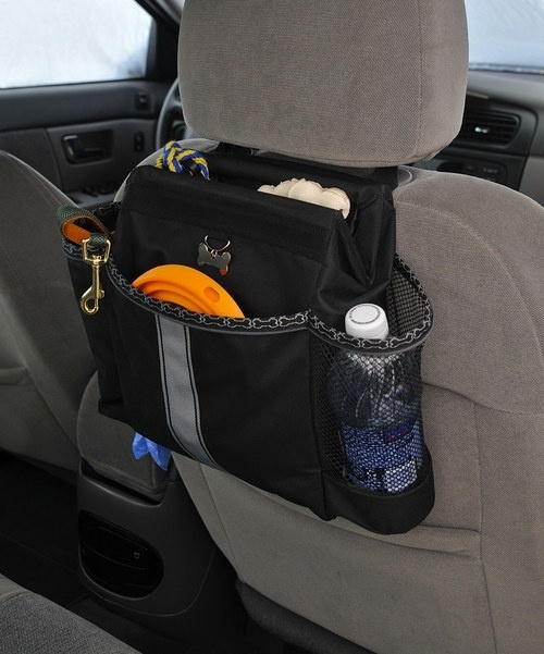 Keep everything in place while traveling with this dog car organizer.