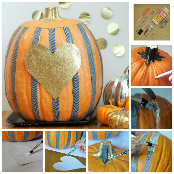 This pumpkin-turned-candy holder was created by Kim from Pop Cosmo. Using a craft pumpkin makes this a non-messy carving project.Materials: a craft pumpkin, a carving knife, a paint brush, gold paint, Mod Podge, scissors, gold glitter paper, ribbon in a black and white pattern (look for a lightweight ribbon or a non-sheer patterned wash-style craft tape).1. With your pencil, mark the area where you will carve the top of the pumpkin, then use your craft knife to carve the top of the craft.2. Apply Mod Podge in a stripe down the length of the pumpkin where you will be placing your ribbon. 3. Firmly press your ribbon against the Mod Podge and let sit a moment. Then place Mod Podge on top of the ribbon to glue it to the pumpkin (so your ribbon will be glued to the pumpkin from the top and bottom). Let dry completely.4. Paint the stem gold.5.Trace a heart to the size and shape of your liking on the back of your glitter paper. Cut out the heart shape, apply modge podge to the back, and apply to the pumpkin. 6. Cover the hole inside with paper, place it on a plate, and fill it with candy. Fill with treats and use as a costume party centerpiece.