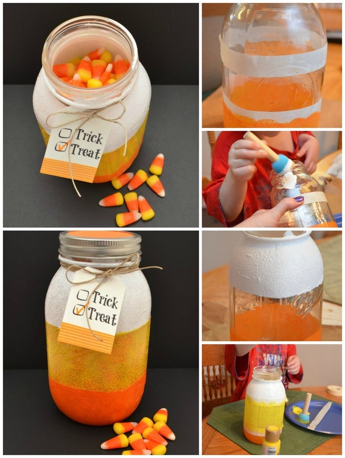 This post shows you how to paint a jar to look like a candy corn. Fill it with... what else!