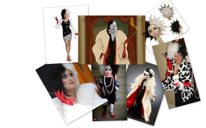 What you'll need:1. Black and white wig2. Reg gloves3. Yellow faux fur coat4. Cigarrette holder5. Dalmatian stuffed animal6. Pearl necklaceFurther DIY directions here.