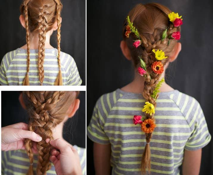 Flower Woven Rapunzel Braids