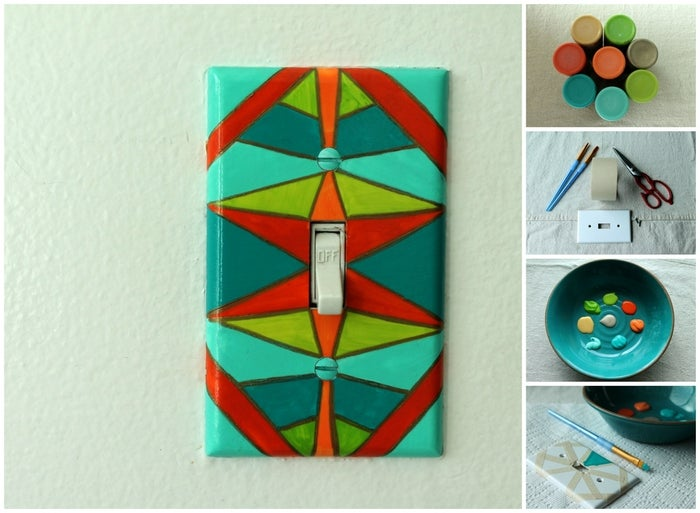 Lynn from Lynn and Lou created this geometric painting light switch cover. Pick colors that match your decor!Supplies: clear chalk paint, Mod Podge or Shellac, acrylic paint (in several different colors), small paint brush, masking tape, scissors, a light switch plate and screws.1. Start by painting a layer of clear chalk paint directly onto the light switch plate. This coat is crucial, it ensures that the paint won't be peel-y. 2. Cut your masking tape into thin pieces and place them on your plate, making the geometric shapes that you desire. 3. Paint small portions of the plate, peeling the tape off immediately and allowing it to dry. 4. You can complete the geometric effect by re-taping and painting in any pattern you desire. 5. When the paint is completely dry, paint one to two thin layers of Mod Podge or Shellac to keep your artwork safe from any outside elements.