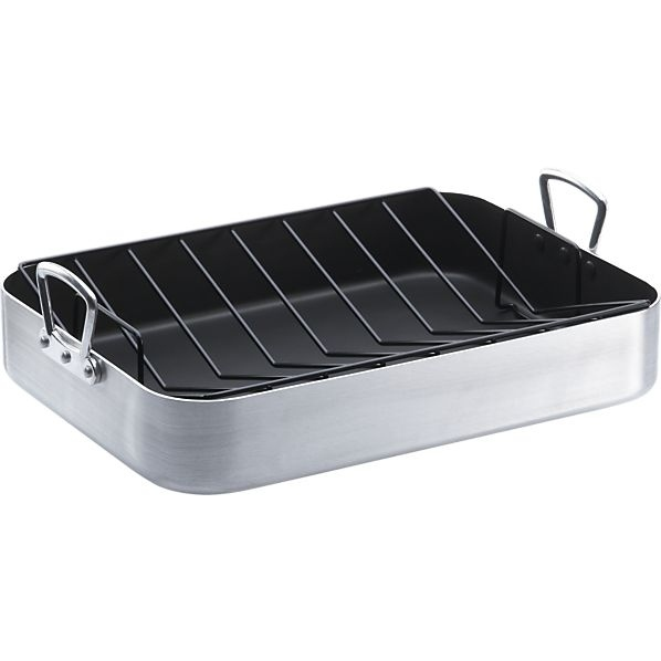 You don't use a roasting rack inside your roasting pan.
