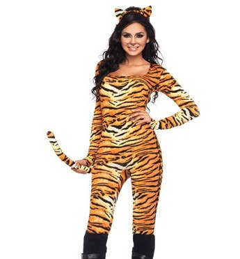 create an awesome tigris costume by starting with a simple tiger costume - Primrose Everdeen Halloween Costume