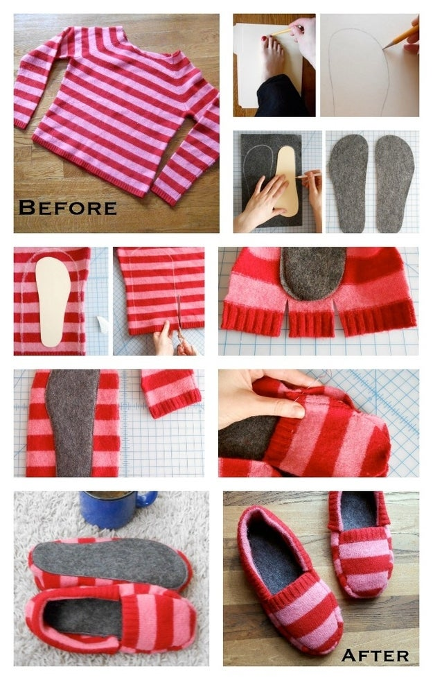 This tutorial shows you how to make cute slip-on sweaters out of an old striped sweater, using felt for the sole.
