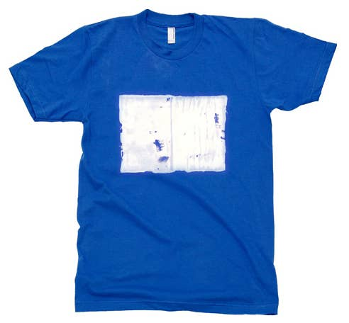 Each shirt is uniquely hand printed with an actual book. All proceeds go toward St. Bride Library in London. Find it here.