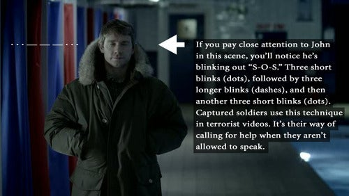 So I'm watching The Great Game for the *coughmumblecoughcough* time last night and in the pool scene, I now marvel at the fact that when Watson steps into the room with his big parka, he's blinking S.O.S. at Sherlock. It's a subtle thing, and one I wouldn't have picked up on without the fabulous fans on Tumblr. I thought he was just blinking nervously because, you know, there's a dirty great pack of bombs strapped to his chest.