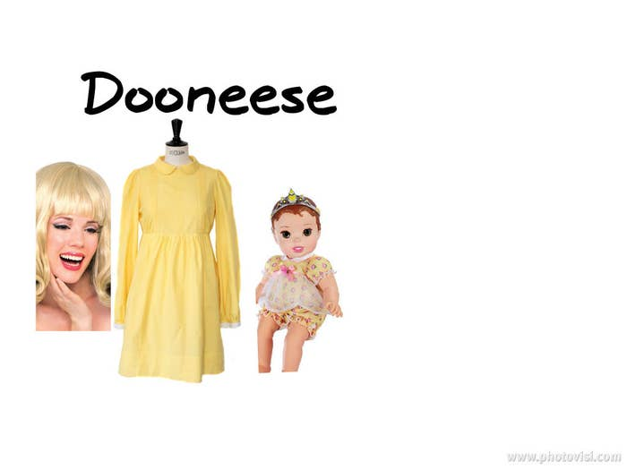 Blonde Flip wigYellow long sleeved dressBaby hands..and don't forget a bald cap