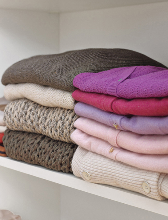 Fold your sweaters instead of hanging them to avoid stretching.