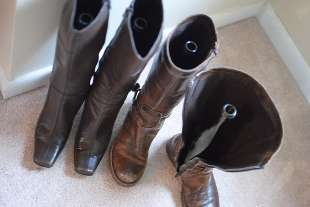 Use wine bottles to store your boots so they stay upright.