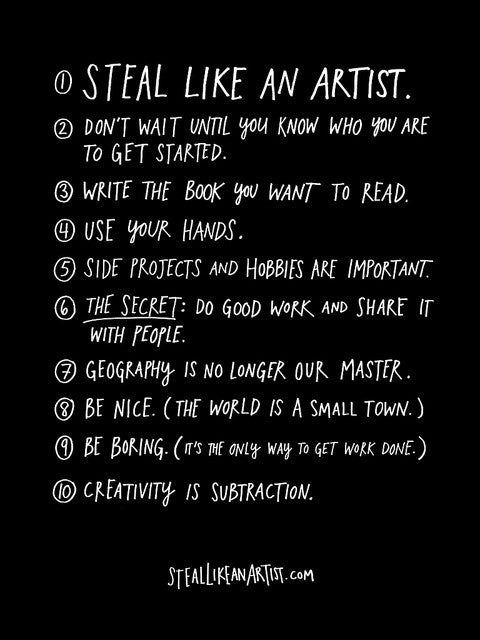 Artist and writer Austin Kleon decided to turn the 10 things he wished he'd heard when he was in college into a manifesto for creativity in the digital age.Download the full manifesto here.