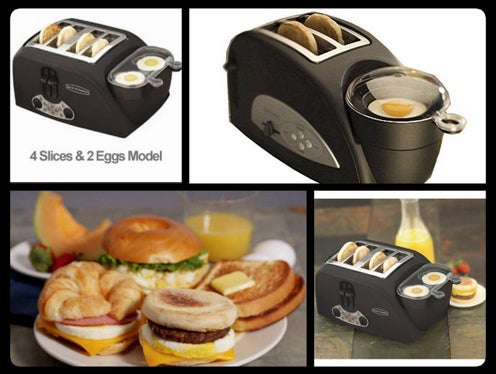 Never fear, you too can be a mini-Rachel Ray with this toaster & egg poacher. Get it in a 2 slices & 1 egg model…. or 4 slices & 2 egg model if you're anything like Ron Swanson.