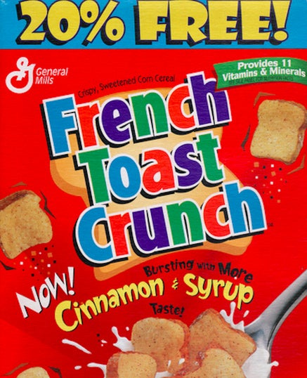 Although French Toast Crunch was discontinued in the U.S. in 2006, it is still being actively distributed and sold in Canada. Why it hasn't been smuggled across the border and sold in the black market is beyond me.