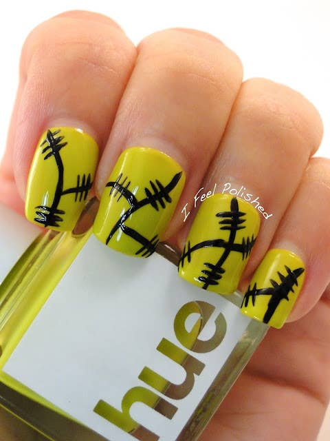 25 clever nail ideas for halloween frankenstein nails prinsesfo Image collections