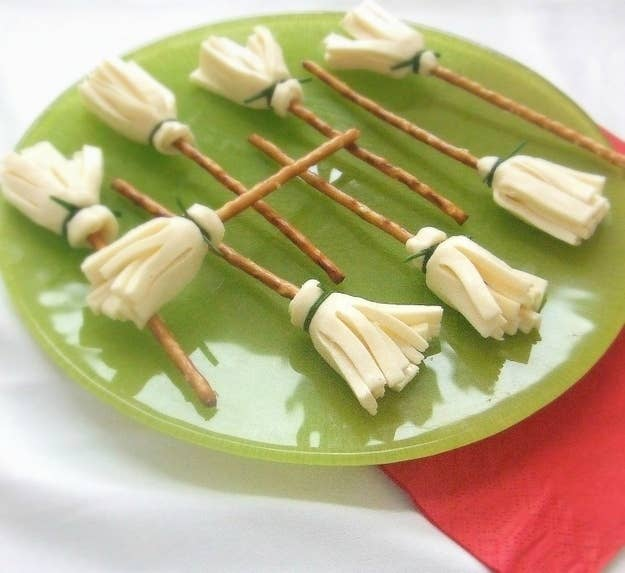 Pretzel rods and sliced cheese.
