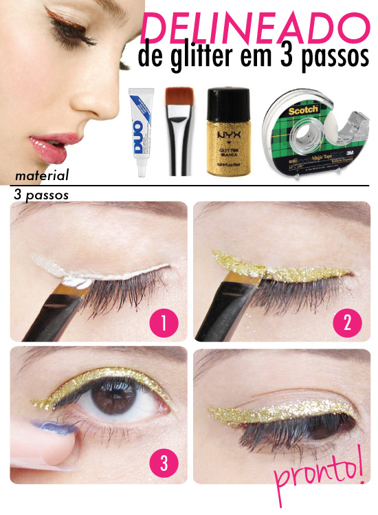 Eyelash glue + glitter = the most impressive glitter liner of all time.