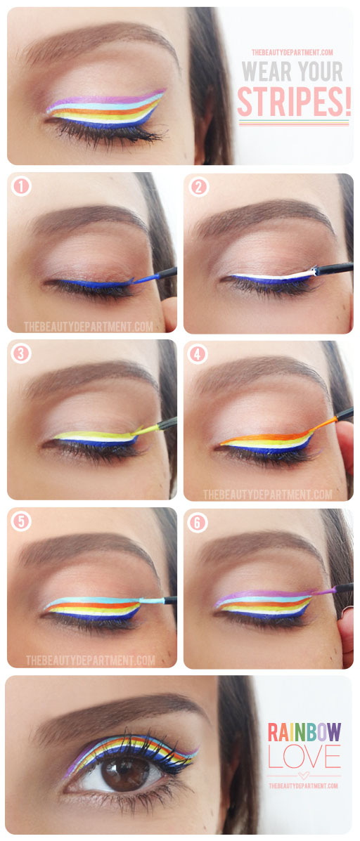 Layer on liquid liner for a striped look.