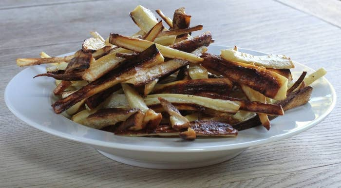 The only ingredients are parsnips, oil, and salt.