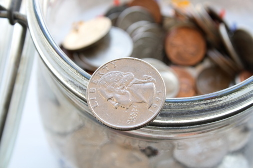 """Save your change in a jar for five years."""