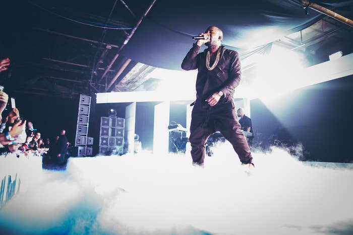 Kanye West performs at the Samsung Galaxy Note II New York in 2012.