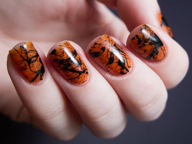 25 clever nail ideas for halloween splatter nails prinsesfo Images