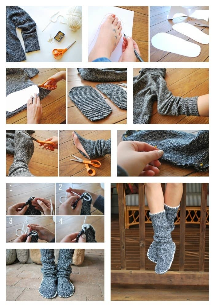 These cozy slippers made from an old sweater were created by Jen from Drawings Under the Table. Supplies: scissors, pins, yarn, a large darning needle, paper or cardstock, double-sided tape )optional) and an old sweater (try to find something with a tight enough weave that it won't begin to unravel when you cut it - felted wool works great for this).1. Trace your foot. Make a rough outline of your foot on a piece of paper or cardstock. Give yourself about 1.5 cm of extra space around the edge for comfy slippers and easy sewing. Cut out your shape, and repeat for the other foot. 2. Place each cutout on the body-area of the sweater, and cut around them to create two sole pieces. It is best if you use double-sided tape to keep the paper from slipping around while you are cutting.3. Check the boot length. Stick your foot into the sleeve of the sweater through the opening at the wrist. Pull the fabric around your leg to the desired boot length.4. Snip around your foot. Very carefully, cut the fabric of the sleeve away from the sole of your foot. You are trying to make it so that just the bottom of your foot is exposed. Now you have your leg piece.5. Connect the sole piece to the leg piece with large pins. Start with one pin at the toe of your bootie, and one pin at the heel. Then stretch the fabric as necessary to line the two pieces up and pin them together.8. Blanket stitch. With the pins in place, blanket stitch the sole piece and the leg piece together. To do a blanket stitch, (1) push your needle through both layers of fabric from the top (2) pull the yarn through until only a small loop remains (3) bring your needle back down through the loop (4) pull the yarn tight. You can also add a blanket stitch around the opening of your boot to make it look extra polished.They're ready to wear!