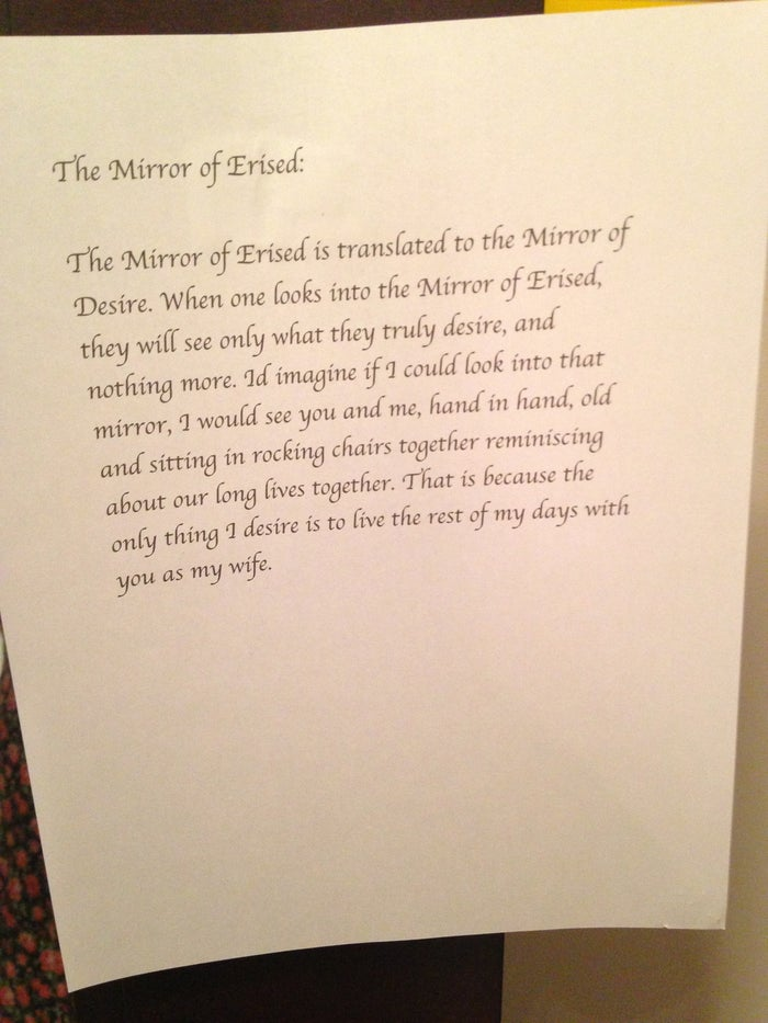 As you can see in the video, he also had a mirror here and chapter covers alongside each letter.