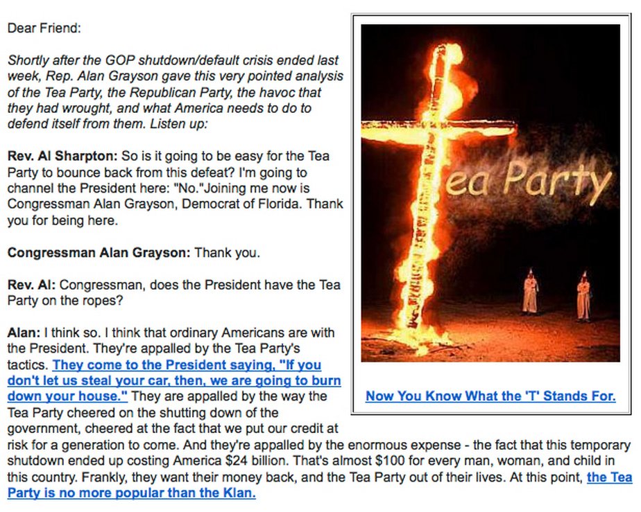 Congressman Compares Tea Party To KKK, Uses Burning Cross Photo In Fundraising Email