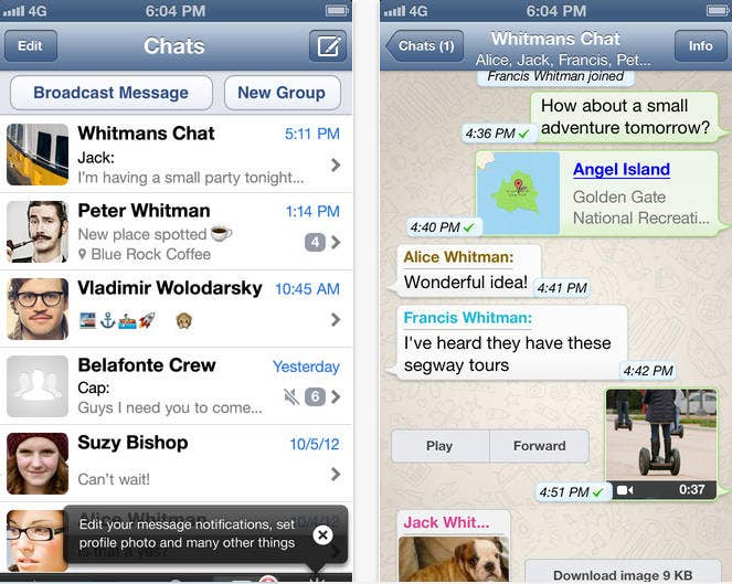 This app is a free messaging service that works over 3G or Wi-Fi, perfect for international travelers looking to avoid data and messaging spikes.It's great because: It doesn't require a screen name, which can make apps hard to use. It pulls contacts from your phone numbers so you can instantly see all your contacts who use WhatsApp.But: Like with phone numbers, anyone with your contact information can message you.Price: Free for the first year, $.99 per year after that.