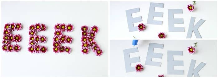 Cut letters out of a piece of mat board, then use a glue gun to cover in flowers, as done in this tutorial. Daisies were used here, but you could also use craft flowers. Eeek works well for a Halloween party!