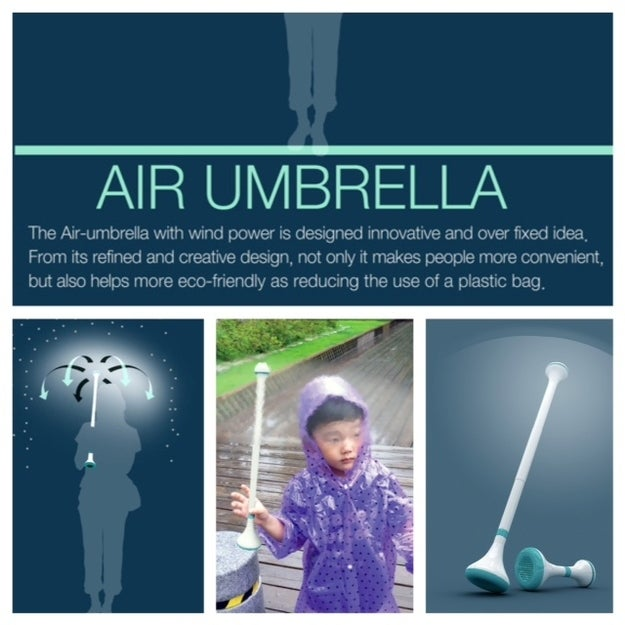 You'll wish for more rainy days with this cool tech gadget called Air Umbrella! There's no canopy but the rain is designed to go around you with either a single or double fan layer. So go ahead, turn a gloomy rainy day into a scene from Singing in the Rain.
