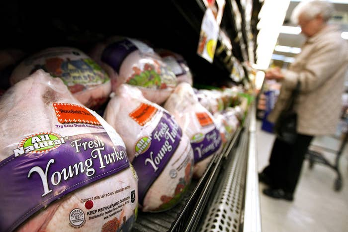 If you're buying a frozen, conventional turkey (like Butterball) from the supermarket, buy it 1-2 weeks in advance and store it in your freezer.If you're buying a fresh turkey (conventional OR free-range organic) from the supermarket, you can't pick it up too far ahead of time, because it'll go bad. But you can and should call the supermarket to reserve your fresh turkey at least two weeks in advance.If you're ordering a super fancy turkey, such as a Heritage turkey, order online at least a month in advance. The turkey will be delivered to you the Tuesday before Thanksgiving.