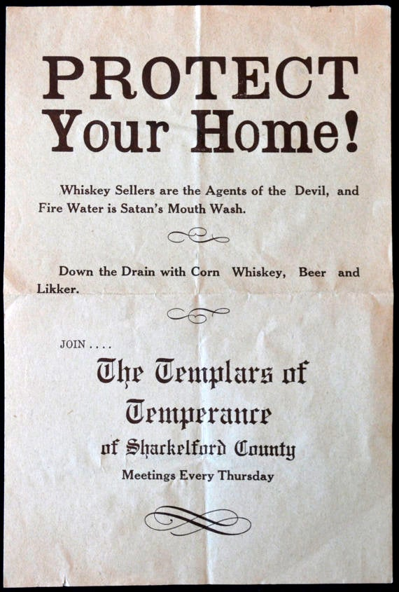 This original announcement appeared during the prohibition area and reminds us of a darker, less lively time. ($9.99)