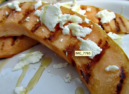 22. Grilled cantaloup is also good with just a drizzle of honey and goat cheese