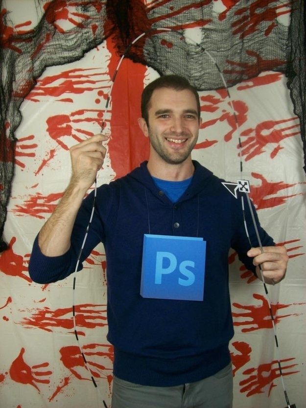 A light blue placard against a navy background makes a Photoshop costume  for the lazy.