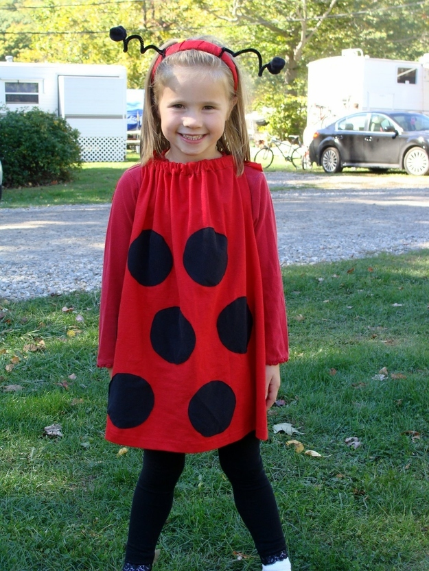 Stick black dots on a red outfit and you, my friend, are now a ladybug.