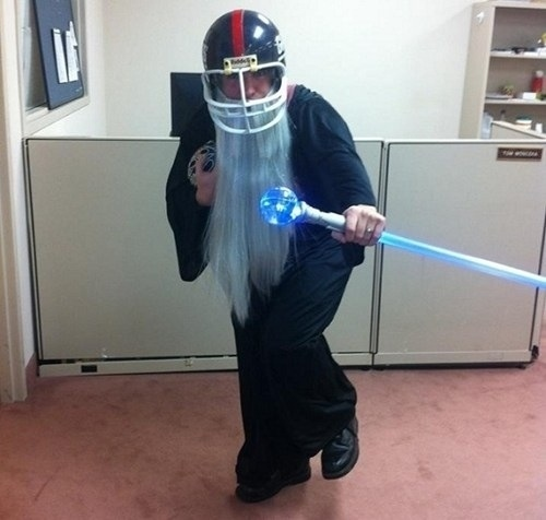 A Snuggie and a football helmet turns you into Fantasy Football.
