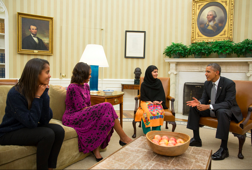 Obamas Meet Malala Yousafzai At The White House