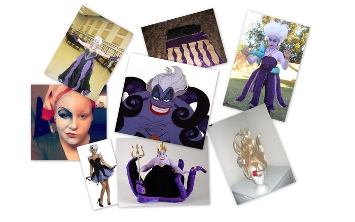 What you'll need:1. Purple face paint2. Red lipstick3. Intense eye make-up4. Black dress5. Tentacle skirt6. White, teased wigFurther DIY directions here.