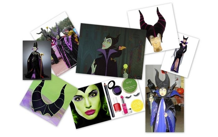 What you'll need:1. Black and purple dress2. Black cape3. Green face paint4. Bird on shoulder5. Gold scepter 6. Horns Further DIY directions here.