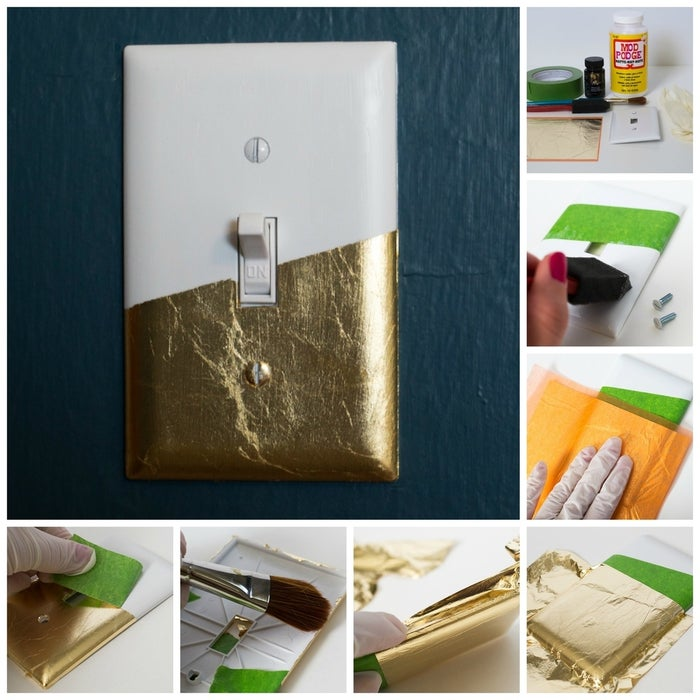 Add a touch of glitz to your home with a gold leaf light switch, like this one created by Sarah from Sarah Hearts.Materials: a plastic light switch cover, painter's tape, one sheet of gold leaf, gold leaf sizing, Mod Podge, a soft paint brush, a foam brush, and rubber or cotton gloves.1. Apply the tape across the front of the switch plate. Smooth the tape with your hands to make sure it's adhered. (If you want to cover the entire switch plate with gold leaf simply skip this step.)2. Use the foam brush to apply a very thin coat of the gold leaf sizing to the area you want to be gold, including one of the screw heads. Allow this to dry for about 30 minutes, or until it's dry but slightly sticky. If you drag your knuckle across it and it squeaks, then it's ready for the gold leafing.3. Carefully place the gold leaf on the switch plate. Use your hands to carefully press the foil onto the switch plate.4. Remove the paper backing. Carefully press the foil onto the switch plate.5. Wrap the gold leaf on the edges. Use your fingers to press the gold leafing on to the edges.6. Remove large pieces of excess gold leaf. Use the soft paint brush to remove excess gold leafing around the edges of the switch plate. Repeat to apply gold leaf to one of the screw heads.7. Remove the painters tape. Peel off the painters tape to reveal the hard edge. Use the soft paint brush to remove any excess gold leaf that may remain where the tape was.8. Allow to dry for one hour. Use the foam brush to apply a thin, even coat of Mod Podge. Allow to dry completely, around 20 minutes.