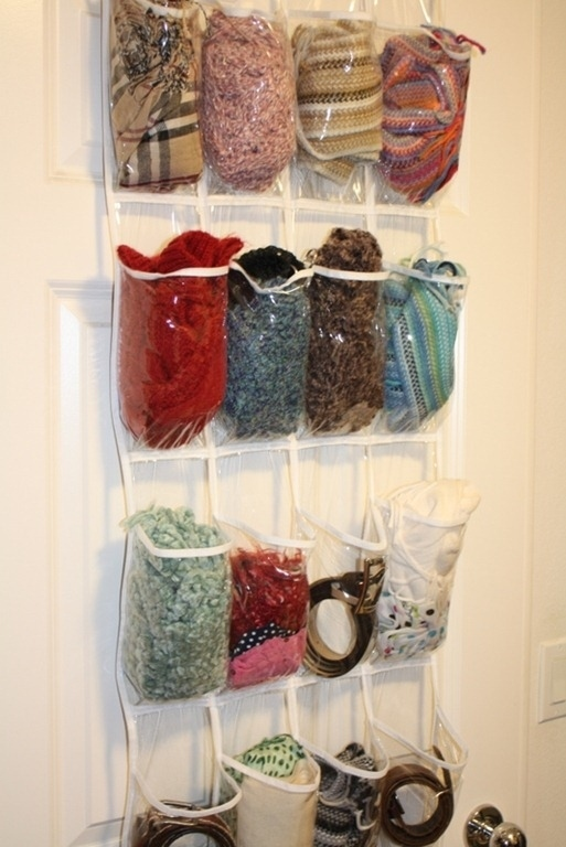 Store scarves in a clear plastic shoe bag.