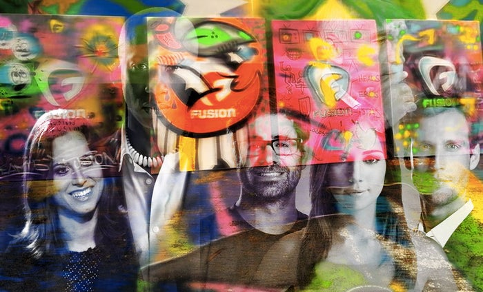 Artwork created during a graffiti challenge at Fusion's headquarters in Miami. Composite image created adding faces of Fusion's network.