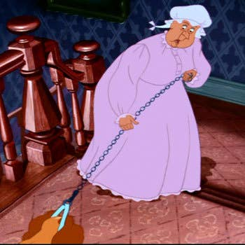 """Oh... that wicked animal, attacking my poor, innocent little angels, MERCIFUL HEAVENS!!""This dog hater is featured in Lady and the Tramp as the owner of the tricky siamese cats, Si and Am. She banishes Lady from the house and even puts a muzzle on her."