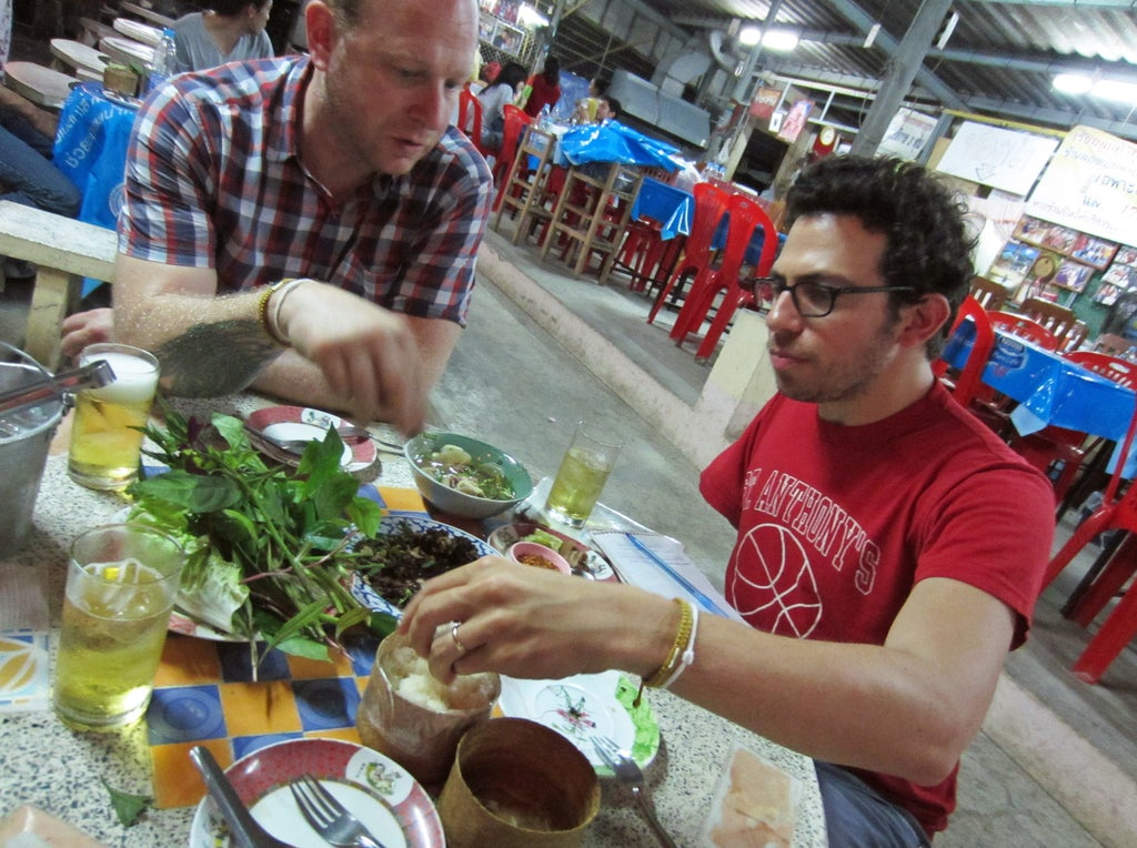 Chef Andy Ricker (left) and JJ Goode (right) on a cookbook research trip in Thailand.