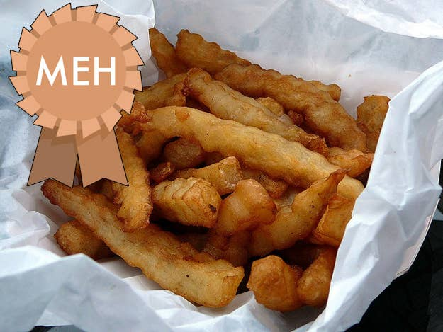 Charisma: 1 Uniqueness: 3 (for the shape) Taste: 1 Je ne sais quoi factor: 1 Total: 6 Verdict: You'll eat them if they're there on your plate, but crinkle fries are starchy and unexciting.