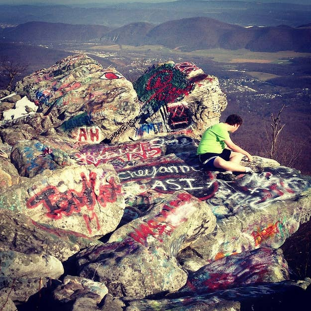 """According to the College Prowler guide to Frostburg State University, """"Dan's Rock is where the college kids go to hang out. Everyone must 'graffiti' at least one rock during his or her college career."""""""